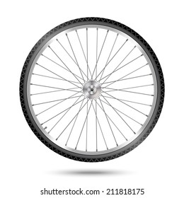 Vector bicycle wheel on white background