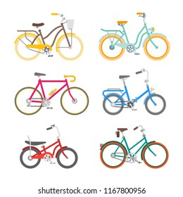 Vector bicycles set in flat style isolated on white