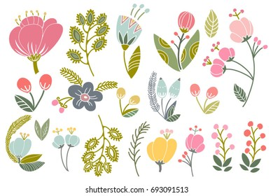 Vector big amazing set of lovely flowers in pastel colors.