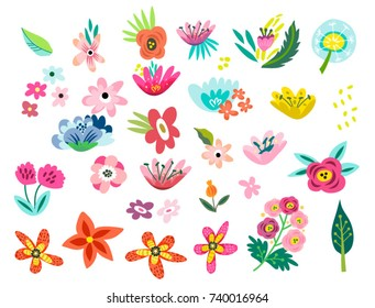 Vector big amazing set of lovely flowers in bright colors.