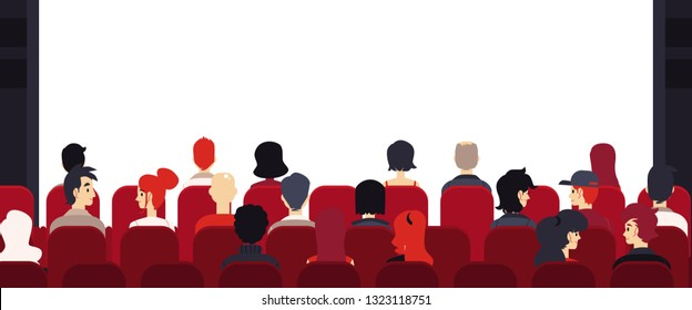 Vector big audience, people sitting at chairs with empty stage. Corporate training, seminar or lecture. Corporate presentation, annual report or entertainment event concept.
