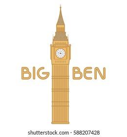 Vector big ben line flat cartoon. London  background