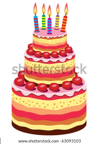 Vector Big Birthday Cake With Burning Candles And Fruits