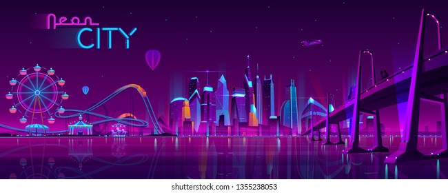 Vector big bridge to amusement park. Modern megapolis on river and Ferris wheel. Night architecture background with glowing buildings in cartoon style. Urban skyscrapers in neon colors.