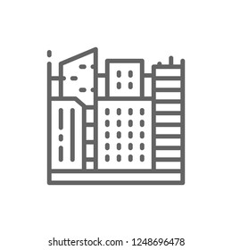 Vector big city, megapolis landscape line icon. Symbol and sign illustration design. Isolated on white background