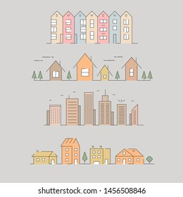 Vector big city and town illustration. Urban icon. Linear style background. Thin line icons.