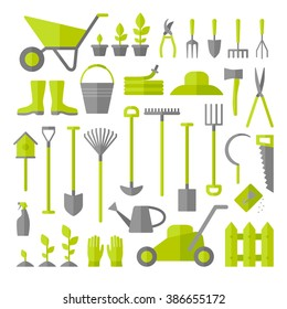 Vector big collection of gardening tools. Rack, pitchfork, hose, wheelbarrow, watering can, cutter, fork, lawn, pruner, secateurs, shovel, spade and more.