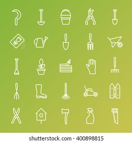Vector big collection of gardening tools line icons. Rack, pitchfork, hose, wheelbarrow, watering can, cutter, fork, lawn, pruner, secateurs, shovel, spade and more.