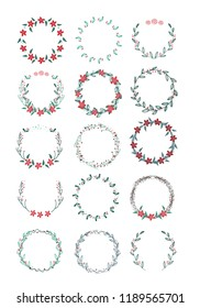Vector big collection of hand written christmas wreaths isolated on background
