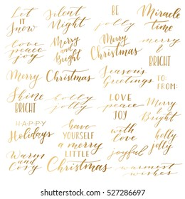 Vector big collection of hand written christmas phrases and quotes. Elegant calligraphic lettering phrases. Merry Christmas. Happy Holidays. Silent Night. Holly Jolly.