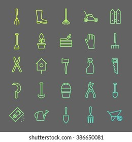 Vector big collection of line gardening tools icons. Rack, pitchfork, hose, wheelbarrow, watering can, cutter, fork, lawn, pruner, secateurs, shovel, spade and more.