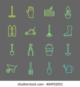 Vector big collection of line gardening tools icons. Rack, hose, wheelbarrow, watering can, cutter, fork, protective gloves, lawn, pruner, secateurs, shovel, spade, bucket, scissors, hoe.