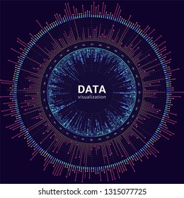Vector big data visualization. Visual information complexity. Data analytics representation.
