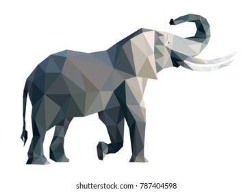 Vector big grey elephant from triangles isolated on white background