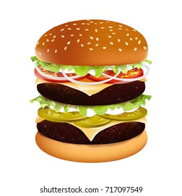 Vector big Hamburger. Burger American Cheeseburger with lettuce, tomato, onion, cheese, beef, sauce, pickled cucumber. Fast Food on a white background