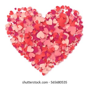 Vector big heart made from hearts shapes pink and red confetti on white background