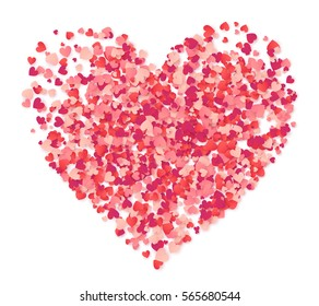 Vector big heart made from pink and red confetti isolated on white background