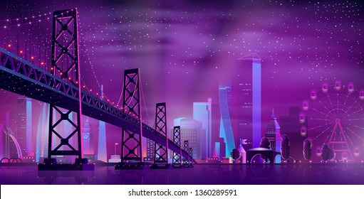 Vector big hinged bridge to amusement park. Modern megapolis on river and Ferris wheel. Night architecture background with glowing buildings in cartoon style. Urban skyscrapers in neon colors.