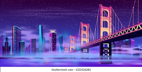 Vector big hinged bridge and mist on the water. Modern megapolis on river, fog. Night architecture background with glowing buildings in cartoon style. Urban skyscrapers in neon colors, town exterior.