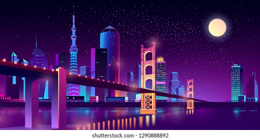 Vector big hinged bridge in modern megapolis on river. Night architecture background with bright glowing buildings in cartoon style. Urban skyscrapers in neon colors, town exterior.