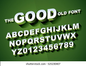 Vector of big retro 3d alphabet