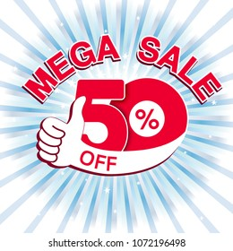 Vector big sale banner. Mega sale with 50 % off. Red special offer with best choice symbol on blue striped background. Template design with gesture hand.