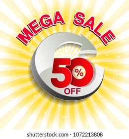 Vector big sale banner. Mega sale with 50 % off. Red special offer on yellow striped background. Template design.