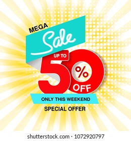 Vector big sale banner. Mega sale, up to 50 % off. Red blue special offer only this weekend. Template design with black frame on yellow striped background.