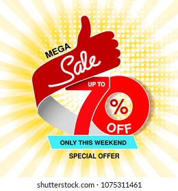 Vector big sale banner. Mega sale, up to 70 % off. Red blue special offer only this weekend. Template design with best choice symbol on yellow striped background. Gesture of hand.
