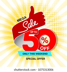 Vector big sale banner. Mega sale, up to 50 % off. Red blue special offer only this weekend. Template design with best choice symbol on yellow striped background. Gesture of hand.