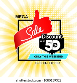 Vector big sale banner. Mega sale, up to 50 % off. Red blue special offer only this weekend. Template design with best choice symbol on yellow striped background. Discount label.