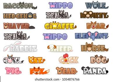 Vector big set cute cartoon text name animals, funny font