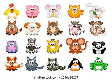 vector big set cute cartoon triangular animals