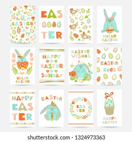 Vector big set of  Easter cards with cookie eggs, flowers, rabbits, basket and lettering. Perfect for holiday greetings, prints, placards