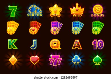 Vector big set gaming icons of card symbols for slot machines and a lottery or casino in different colors. Game casino, slot, UI