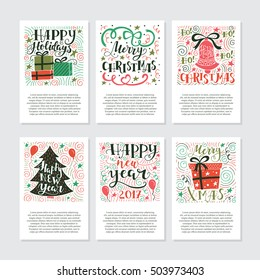 Vector big set of New Year and Christmas greetings cards and invitations  isolated on background. Unique handwritten quotes, lettering and elements . Xmas quotes collection. Holiday calligraphy.