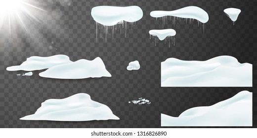 Vector Big set of realistic snow caps, snowball, pile, icicles, snowdrift. Christmas snow, white elements, holiday vector snow. Design template for winter and christmas. Spring Sun flash with rays.