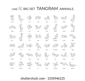 Vector big set of tangram animals created from lines. 48 linear icons on a white background. Tangram children brain games cutting transform puzzle vector set.