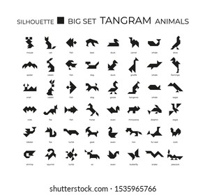 Vector big set of tangram from animals silhouettes. 48 silhouette icons on a white background. Tangram children brain game cutting transformation puzzle vector set.