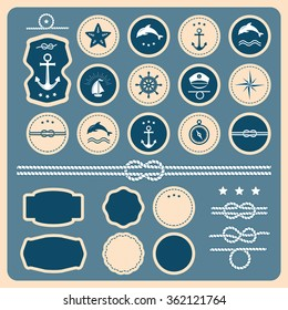 Vector Big set of Vintage nautical badges and labels. Collection of various nautical elements for design and page decoration. Summer holidays, travel, vacation, adventure labels template set.