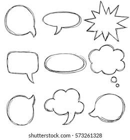 Vector big speech bubble set. Hand drawn.