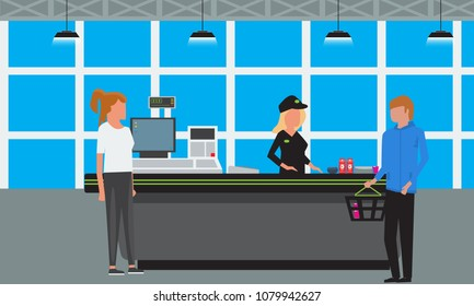 Vector Big Supermarket or Mall Interior. Scene inside of shopping mall people standing at cashier.