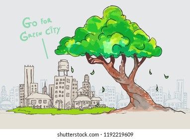vector big tree and outline of city,doodle tree and green city