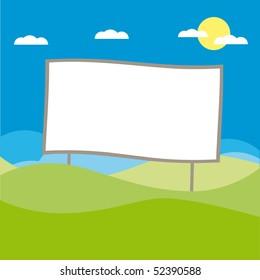Vector Billboard at the field illustration cartoon