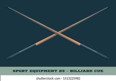 Vector billiard cue icon. Game equipment. Professional sport, classic cue for official competitions and tournaments. Isolated illustration.