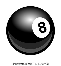 Vector billiards snooker pool 8ball illustration isolated on white background.