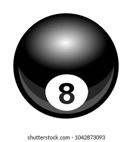 Vector billiards snooker pool 8ball illustration isolated on white background. Ideal for logo design element, sticker, car decals and any kind of decoration.