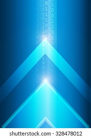 Vector : Binary number and abstract arrow on blue background