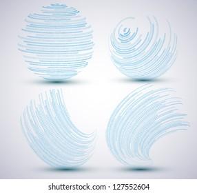 Vector binary sphere set on blue background. Eps10 illustration