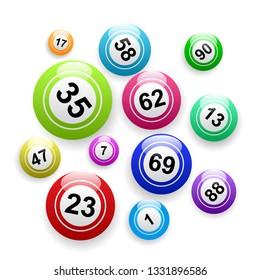 Vector bingo background, balls and numbers